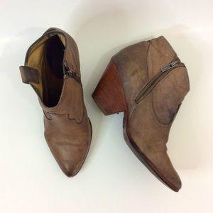 Frye Grey Brow Leather Heeled Booties 8.5